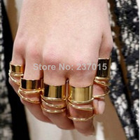 Cheap 9Pcs Urban Golden Stack Plain Cute Above Knuckle Ring Band Midi Mid Rings Set for Women Gothic Gift Jewelry