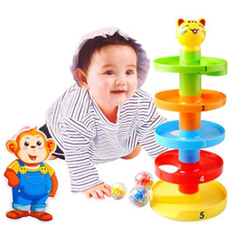Wholesale OP New Tower Ramp Billowed Ball Bell Toy Set For Baby Infant Developmental Educational Toys In Stock