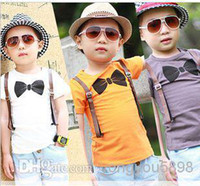 Cheap Wholesale - sunshine 5pcs lot boys short-sleeve bow tie print T-shirts fake suspender orange white gray tshirts