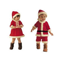 Wholesale 3 sets Baby Boys Girls Christmas Jumpsuit girls Bow dress Hat Set Child Clothings pieces Kids xz0022