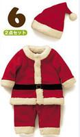 Wholesale 1set Baby Boys Girls Christmas Jumpsuit girls Bow dress Hat Set Child Clothings pieces Kids xz0022