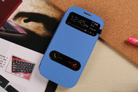 Wholesale S View Quality Open Window Flip Leather cases Cover for Samsung Galaxy S3 i9300 S4 i9500 S5 S3mini S4 mini DHL