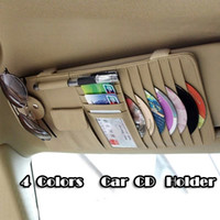 Wholesale Car Accessory car sunvisor High Quality black grey khaki Genuine leather CD storage Multi Purpose CD Holder