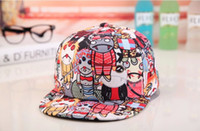Wholesale New Hot Three graffiti Flat brimmed hat Men and women baseball hat Casual hats assorted clour YWPL