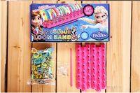 Cheap Wholesale - 2014 HOT! Frozen Fun colourful loom bands DIY bracelets rubber rainbow band Anna Elsa bracelet the summer gift toy for children