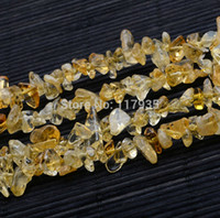 "Cheap Pure Natural gravel citrine quartz crystals A 5-9mm 15"" per strand chips stone crushed Loose beads jewelry making factory price"