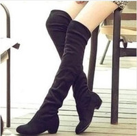 Wholesale O075 Womens Ladies New Fashion Sexy Knee high Long Boots Low Heel Winter Autumn Shoes Slip on Leisure Black Brown Folding Casual