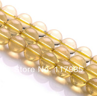 """Cheap Wholesale100% Natural A-AAA yellow o lemon citrine crystal quartz round glossy loose beads 15"""" strand lot 6-12mm jewelry making"""