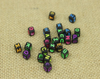 Wholesale NEW ARRIVAL Loom bands Gold silver color Beads Acrylic letter bead DIY Loom band Letter Bead