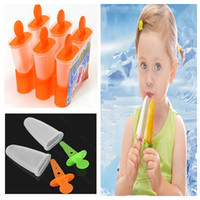 Cheap 6 Cell Frozen Ice Cream Pop Mold Popsicle Maker Lolly Mould Tray Pan Kitchen DIY