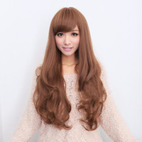 Cheap 2014 Light Brown Long wave 65cm Heat Resistance Synthetic Party Hair Wig