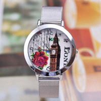 acrylic face painting - TGJW573 Rose Painting Watch face Fashion Silver SL68 Movement Alloy Net Watch Band for Ladies Girls Watch