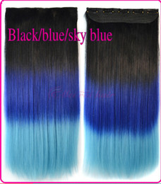 Wholesale 24 quot Clip In Hair Extensions Straight Synthet Colors Color staining hair extension three piece color gradient color five cards hair piece