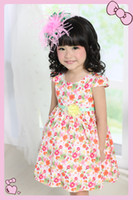 Wholesale Happyliy and Colorful fashion girl dresses Cute baby clothing Brand name High quality Cap Sleeve Pink Flowers Print Cotton Floral