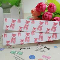 ballet grosgrain ribbon - 7 ballet shoe printed grosgrain ribbon hairbow diy party decoration OEM mm P2429