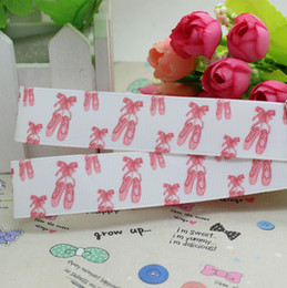 Wholesale 7 ballet shoe printed grosgrain ribbon hairbow diy party decoration OEM mm P2429
