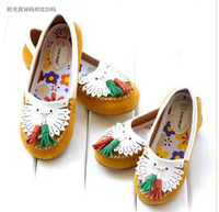 Cheap Size25-38 fashion genuine leather children shoes girls flats wld mother and daughter family shoes yellow and green