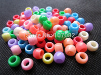 achat en gros de perles métiers-2000pcs / lot 6 * 8mm multi Barrel Shape Poney Perles plastique Perles Large trou pour cheveux perles Kandi Masque bandes Loom