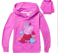 Cheap fashion New arrival Spring New in 2014 Girls fleece Peppa Pig Children Outerwear Cotton rose Coats for Child Hoodie fleece Girls