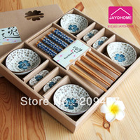 Wholesale Business gift married chinese style sushi bamboo chopsticks plate gift box dinnerware set
