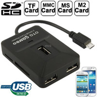 Cheap OTG Smart Multi-function Micro USB 2.0 HUB + Card Reader Combo for Samsung Galaxy S IV S III N 7100 Note Sony Speria Black