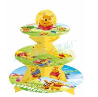 Wholesale New Sale party Decorations artoon Winnie birthday baby shower party cardboard cupcake stand hold cupcakes