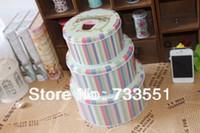 Wholesale Black Forest Cake Pattern Round packing Carton Storage Box zakka Tin sundries Candy Case Kids Gift