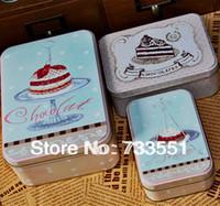 Wholesale New Year Sale set Large cakes pattern set rectangular Iron storage box leather box tin case candy gift tin