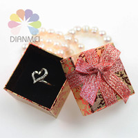 Wholesale x5x3cm Fashion Red Rose Paper Jewelry Earrings Ring Set Box For Gift Packaging