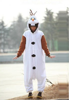Wholesale 2014 new Frozen Olaf Adult Men Women Halloween Animal Cartoon Cosplay Costume Pajamas Outfit Nightclothes Clothing Size frozenc256