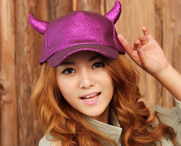 Wholesale Fashion women men baseball cap ball hat Photography props Party Ox horn caps stage performance shiny hat headgear