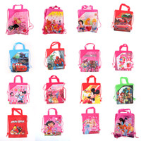Cheap Wholesale-OP-Free shipping mixed many design baby girl Cartoon Drawstring Backpack Bag,Children Kids Bag ,schoobag,baby birthday party gift