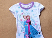 Girl Summer Children Wholesale-Free Shipping Baby Girl Frozen Cotton T Shirt Girl Short Sleeve T-shirt Girl Frozen T-Shirt 3D Printer 100%Cotton