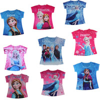 Wholesale OP Retail new Frozen Princess Ann Elsa Summer children girl t shirt Cartoon kids causal T shirts for girls brand short tees