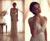 Wholesale 2014 Vintage Plus Size Maternity Wedding Dresses Anna Campbell Floor Length Backless Bridal Gowns Cheap Beads Capped Sleeves Lace Beading