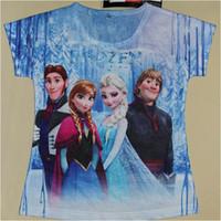 Cheap Wholesale-OP-Free Shipping 2014 New Summer Hot Sell Girls Frozen T-shirt Tops Tees Baby Frozen Elsa's Tshirts Kids Princess Anna's T-shirts