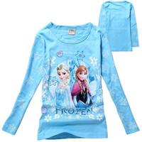 Girl Summer Children Wholesale-Girls Frozen T-shirt Cute Anna Elsa Pattern Long Sleeve Tees Children Kids T Shirt Spring Autumn Clothing children top