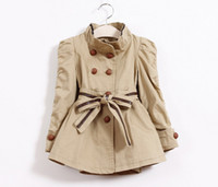 cotton belts - 2014 Korean Style Girls Spring Coat Double Breast Full Cotton With Belt Children Dust Coat cc698