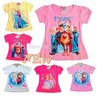Wholesale new Frozen Princess Ann Elsa Summer girl t shirt Cartoon kids causal cotton brand short tee