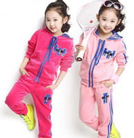 Wholesale Velour Tracksuits For Big Girls Long Sleeve With Lace Hat Bears Cardigan Jacket Trousers Set Clothing Leisure Sprot Kids Clothes J1212