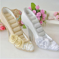 shoe stand - Stud Ring Shoes Holder Organizer new Gold Silver Flower Fashion Jewelry Display Stand
