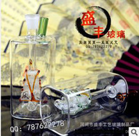 Wholesale Smoking color glass small square sail hookah pipe factory direct large favorably