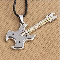 Cheap Fashion Necklace mens Stainless steel Ball Chain best selling men's steel guitar Pendant Necklace Bass Music Necklace