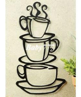Cheap Coffee House Cup Java Silhouette Wall Art Metal Mug Wall decals On Wall Decal Sticker Home Decor Art Mural Wall Room Decal