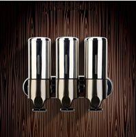 Wholesale Three bottle luqid soap dispensers bathroom wall dispenser spherical bottle kitchen soap dispenser steel