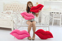 Wholesale Creative cute cartoon red lips pillow cushions plush toys Valentines Day birthday gift pillow covers