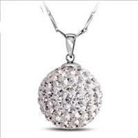 Pendant Necklaces bead chain suppliers - S925 Sterling Sliver Necklace Shamballa Bead Pendant Precious Austria Crystal Nickel Lead Free Jewelry Supplier ON08