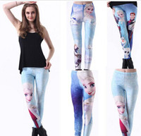 Wholesale 2014 NEW Frozen Elsa Anne Fitness Printed Women Girls kids Cartoon Leggings Printing Tights Long Pants Frozen A29