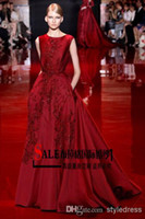 Wholesale Rhine Elie Saab swift Wine Red Lace Appliques Satin A line Evening Dresses For Sale
