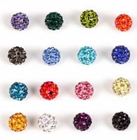 100pcs/lot 10mm espaciador Micro Pave CZ Disco bola cristal Shamballa grano pulsera collar perlas DIY mixto blanco rojo nuevo envío gratis.